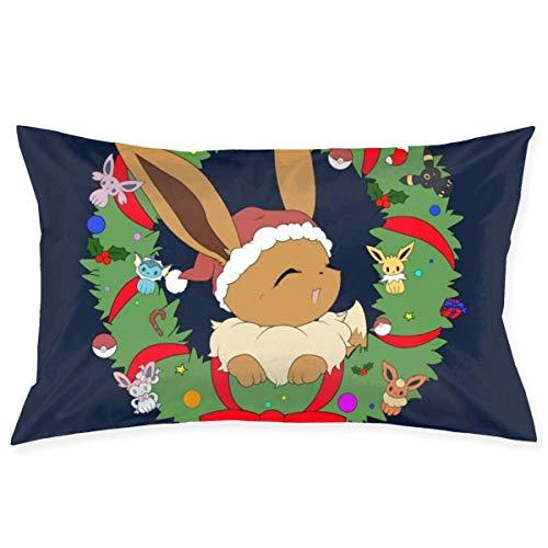 xuexiao Funda de almohada Eevee de Navidad con diseño de monstruo del bolsillo, tamaño de 50 x 76 cm, para el hogar, cama, habitación, funda de almohada decorativa