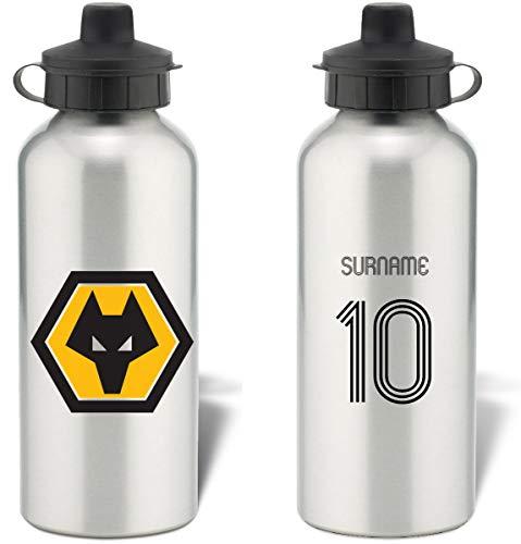 Wolverhampton Wanderers Personalised Wolves FC Retro Shirt Aluminium Sports Water Bottle - Silver Bottle