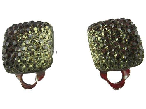 Ohrringe Schmuck Ohrclip Clip Clipse - ohne Loch tragbar - olive grün Straß Style Kunststoff 2943