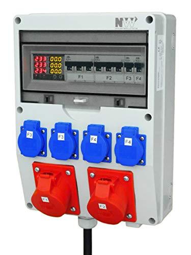 NWP Stromverteiler mit Digitalanzeige (Strom, Spannung und Frequenz) 2x CEE-Dose 16A 400V, 4x Schuko 230V 16A Mit 1,2m 32A 400V Zuleitung H07RN-F 5G4-2x LS 3B16A, 2x LS 1B16A IP54