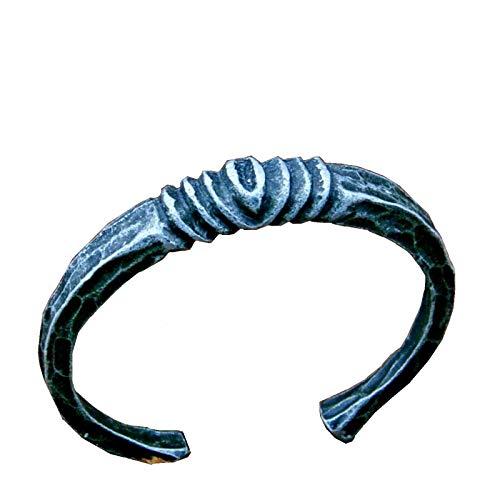 Pulsera de hierro forjado a mano, color negro, joyería de fantasía, algarfia, gótico, de metal trenzado