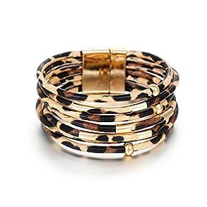 Fesciory Leopard Multi-Layer Wrap Leather Bracelet 5