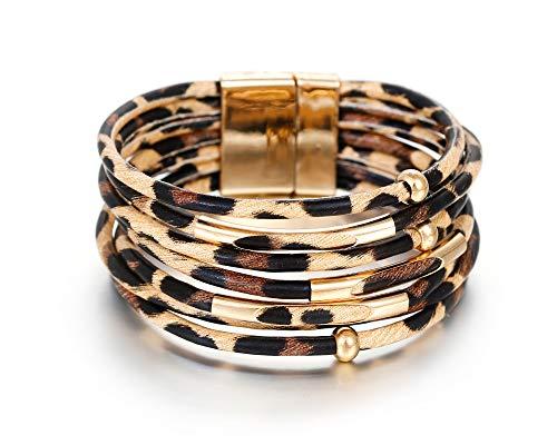 Fesciory Leopard Multi-Layer Wrap Leather Bracelet 1