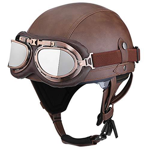 GAOZH Retro Motorrad Halbhelme Brain-Cap · Erwachsene Halbschale Leder Jet-Helm Scooter-Helm Vintage Offenem Helm mit Built-in Visier für Cruiser Chopper Biker Moped ECE zertifizierter