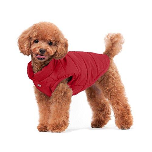 Rantow Imbottito Caldo Cappotto Invernale per Cani Giacche Antivento Accogliente Vestiti per Cani Vestito Vestito di Maglia per Cani Piccoli di Taglia Media, Rosso/Blu Scuro/Marrone?Rosso S