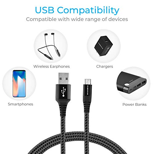 Ambrane Unbreakable 3A Fast Charging Braided Micro USB Cable for Android Devices – 1.5 Meter (RCM15, Black)