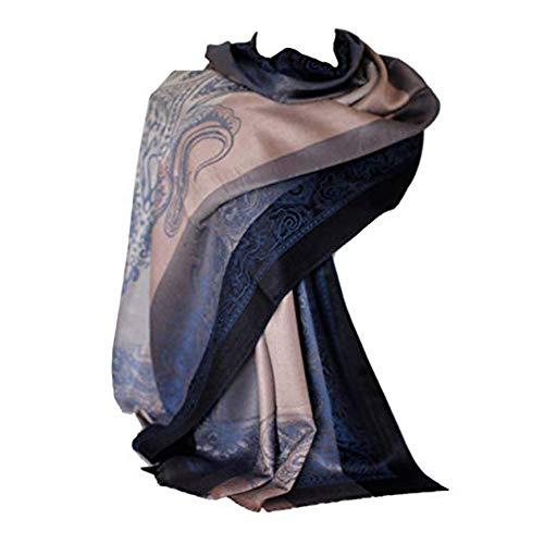 Selbstgeprägte Paisley Border & Motiv Elegant Beige Grau Streifen Pashmina Feel Schal Wrap Schal Stola Kopf Schals (Marine Blau)