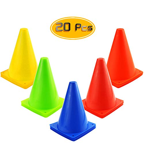 Kuqqi 7 Inch Plastic Agility Cones 20 Pack Set, Sports Soccer Flexible Cone for Training, Party, Activity, Traffic(Multicolor)