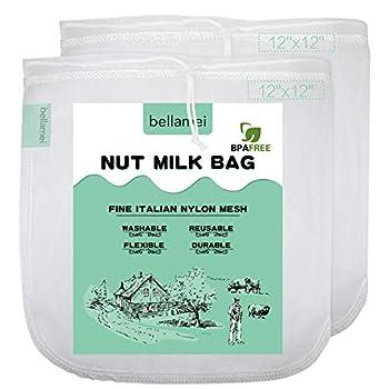 Bellamei Nut Milk Bags Reusable Food Strainers Nut Bags For Almond/Soy Milk Greek Yogurt Professional for Cold Brew Coffee Tea Beer Celery Juice Fine Nylon Mesh  2 pack - 12 x12