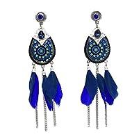Vintage Long Tassel Fashion Feather crystal Style Ethnic Boho Big Dangle Statement Earring Wedding Earrings Accessories Wholesal,blue