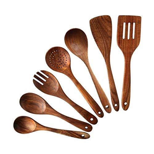 Juego de 7 utensilios de cocina de madera de teca, cucharas antiadherentes y espátula, para cocina con cucharón ranurado, apto para lavavajillas, diseño elegante Set of 7