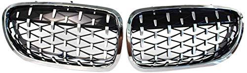 1 Paar 5 Series F10 Nieren Kühlergrill für 5er-Serie F10 2014–2017 520I 525I 528I Diamant Grill Meteor Style Front Stoßstange Grill Auto glänzend, Silber