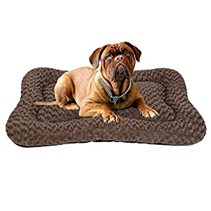 Coohom Deluxe Plush Calming Dog Bed Pet Cushion Crate Mat,Machine Wash Pet Bed for Medium Large Dogs (Medium, Brown)