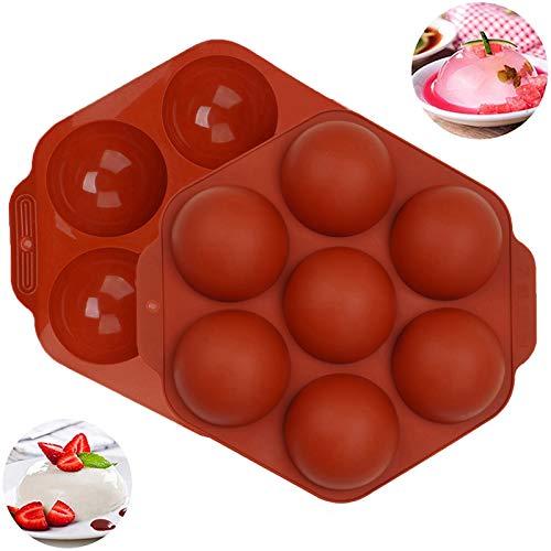 Molde de bomba de chocolate caliente, media esfera pequeña de silicona para hornear, caramelos, gelatina, jabón hecho a mano, molde para cake pop, 2.5 pulgadas, 2 piezas de color...