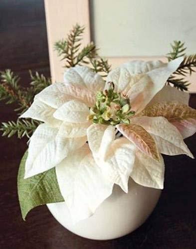 artplants.de Künstlicher Weihnachtsstern Wanda im Keramiktopf, Creme - rosa, 14cm, Ø 20cm - Kunstblume - künstliche Blumen