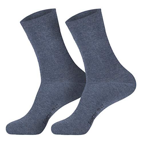 6 Paar Damen Komfort Socken mit extra weichen und breitem B& ohne Gummi aus hochwertiger Baumwolle (35-38, Jeans)