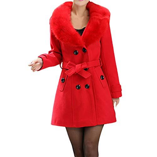 Homebaby Cappotto Donna Invernale in Lana Vintage Offerta Elegante Caldo Taglie Forti Giacca con Collo di Pelliccia Autunnale Cappotto Classico Giubbotto Outwear