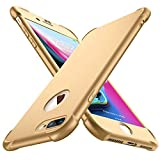ORETECH Kompatibel mit iPhone 7 Plus 8 Plus Hülle, mit [2X Panzerglas Schutzfolie] 360 Grad Stoßfest Dünn Schutzhülle Handyhülle TPU Silikon Hart PC Hülle für iPhone 7 Plus 8 Plus 5,5 Zoll, Gold