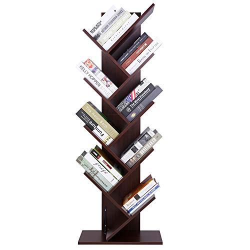 amzdeal Bücherregal CD Regal, Standregal mit 8 Ebenen, Bücherregal aus Holz, DVD Regal für Wohnzimmer, Büro, Kinderzimmer-Dunkelbraun(50x25x145cm)