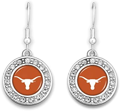 FTH Silver Toned Texas Earrings with Crystal Rhinestones Surrounding The Logo product image