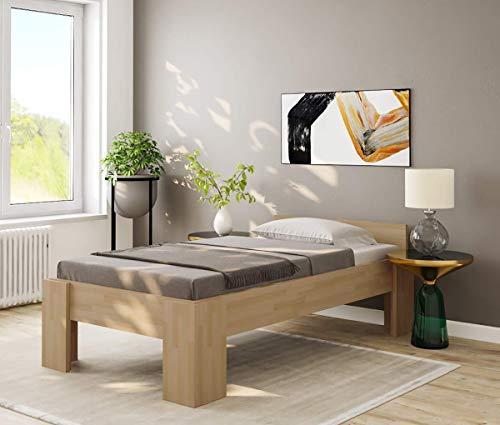 Einzelbett Komfortbett 100x200cm Buche massiv Seniorenbett Bett für schwere Personen - (3461)