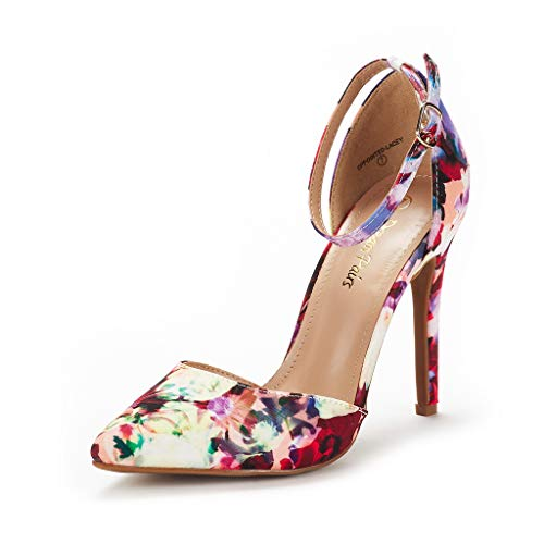 DREAM PAIRS Women's Oppointed-Lacey Floral Fashion Dress High Heel Pointed Toe Wedding Pumps Shoes Size 7 M US