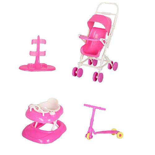 La Muñeca De Juguete Juego De Casa De Muñecas Accesorios con Cochecito De Bebé Walker Vespa Muñeca Soporte para La Muñeca Toy Dolls