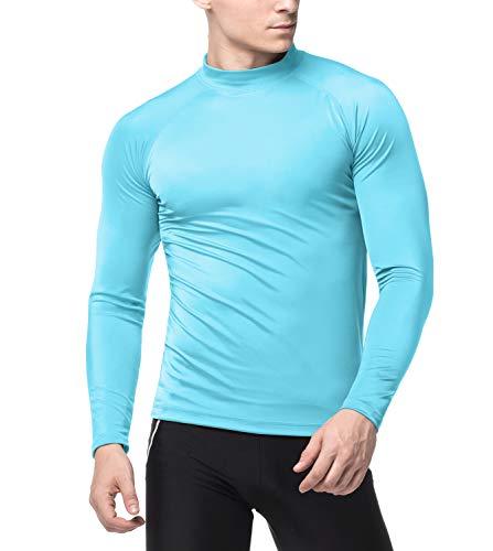 LAPASA Lycra Surf Tee Homme Maillot T-Shirt Protection Solaire Rashguard Dermo Protecteur Anti-UV Haut Top Manches Longues M43 (Turquoise (uni), M (Tour de Poitrine : 94-99cm))