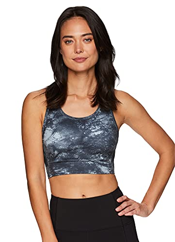 RBX Active Women's Low Impact Sports Bra, Everyday Yoga Tonal Trees Print Low Support Ultra Soft Racerback Bra Forest Blue XL