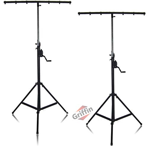 Crank Up Dj Light Stands (2 Pack) Stage Lighting Truss System by Griffin | Portable Speaker Tripod | Heavy Duty Standing Rig | Adjustable Height Trussing|Holds 6 Can Lights|Music Performance Equipment