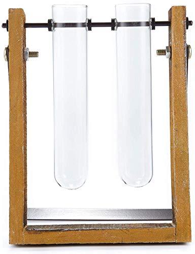 HEITMANN DECO Reagenzglashalter aus Holz und 2 Reagenzgläser Ampullen - Ständer Dekoration - Blumen Vase