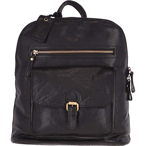 ASHWOOD Großer Vintage Leder-Rucksack schwarz - G28, Schwarz - Schwarz - Größe: Einheitsgröße