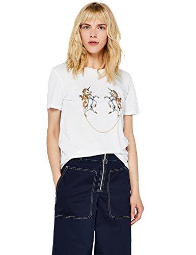 find. Camiseta con Mensaje con Cuello Redondo Mujer, Blanco (White), 38, Label: S