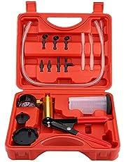 手動真空ポンプ セット -Qiilu真空ポンプ、自動ハンドヘルド真空ポンプ圧力テスターキットブレーキブリーダーテストツール負圧吸引ツール