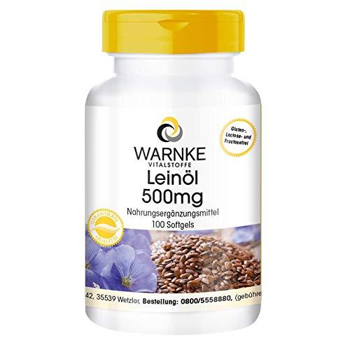 Leinöl Kapseln - pflanzliche Omega 3-6-9 Kapseln - hochdosiert - Flaxseed Oil 500mg - 100 Softgels
