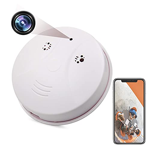 Spy Camera WiFi Smoke Detector Camera Wireless Hidden HD 1080P Home Nanny Cam Security Mini Video Recorder with Motion Detector/Night Vision Function Support iOS / Android