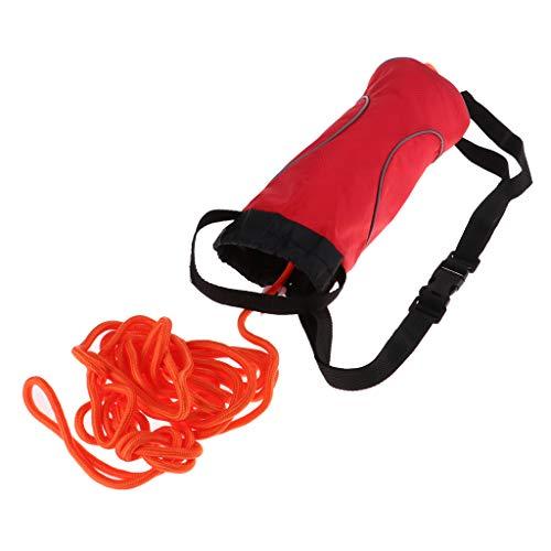 SM SunniMix Kajak Wurfsack Rettungssack mit Ø 8mm Rettungsseil Wasser Schwimmleine - 16 Meter Nicht reflektierendes Seil Rote Tasche