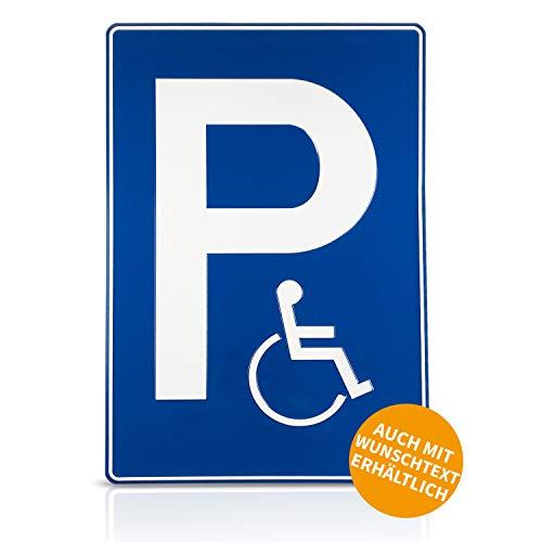 Betriebsausstattung24® Geprägtes Parkplatzschild aus Aluminium | BxH 40,0 x 60,0 cm | Behindertenparkplatz