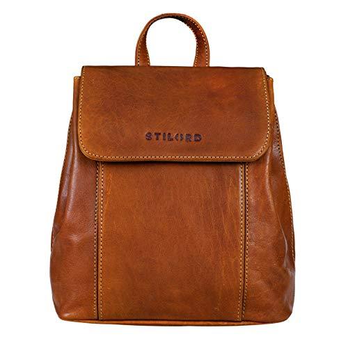STILORD 'Fiona' Daypack Rucksack Damen Leder Klein für City Shopping Freizeit iPad 9.7 Zoll Vintage Rucksackhandtasche aus Echtem Leder, Farbe:Brandy - braun