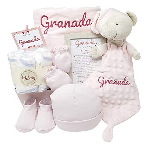 Velvet Dou Dou de Mababy | Canastilla Bebé Personalizada | Cesta Regalo Recién Nacido | Set Bebe Recién Nacido Personalizado (Rosa)