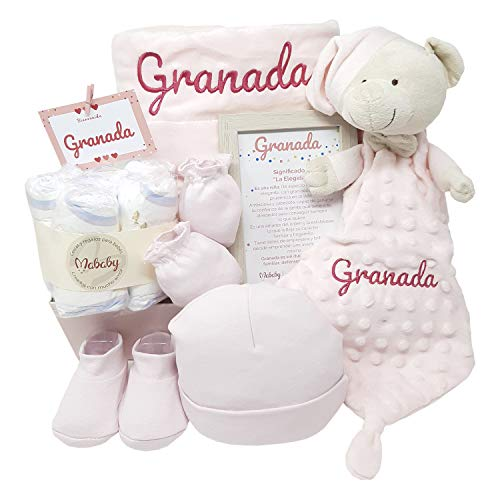 MabyBox Velvet DouDou | Canastilla Bebé Personalizada | Cesta Regalo Recién Nacido | Set Bebe Recién Nacido Personalizado (Rosa)