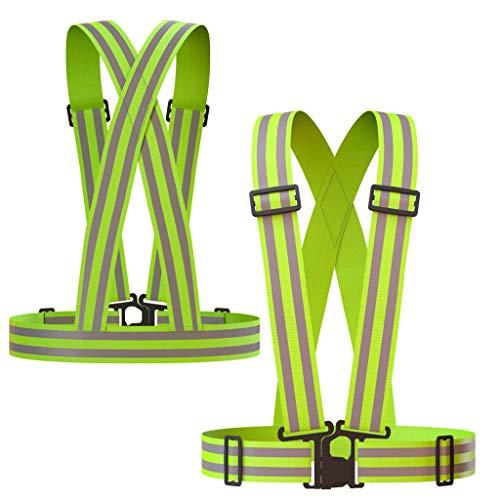 Chaleco reflectante (2unidades) | ligero, ajustable y elástico | seguridad y alta visibilidad para correr, caminar, ciclismo | Puede colocarse sobre ropa de actividades al aire libre–Chaqueta de moto/correr/camiseta, verde