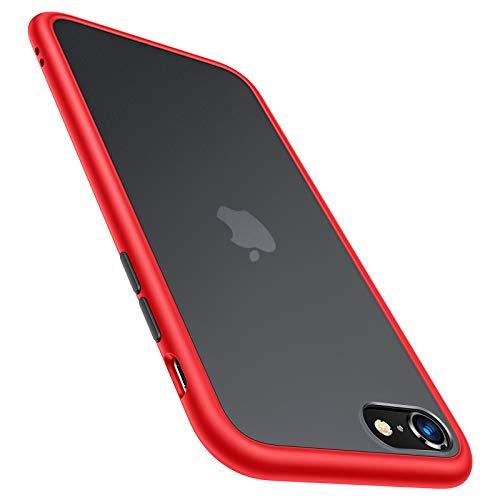 TORRAS für iPhone SE 2020 Hülle/iPhone 8/7 Hülle Militärischer Vollschutz Berühren Slim und Silikon Leicht Durchsichtige Hülle Kratzfest Handyhülle für iPhone SE 2020/7/8 - Matt Rot