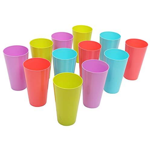 BELLE VOUS Bicchieri Plastica (24 Pezzi) - 500 ml Bicchieri Cocktail Plastica Riutilizzabili - Tazze Plastica Colorati per Feste, Matrimoni, Campeggio, Spiaggia e Picnic - Lavabili in Lavastoviglie