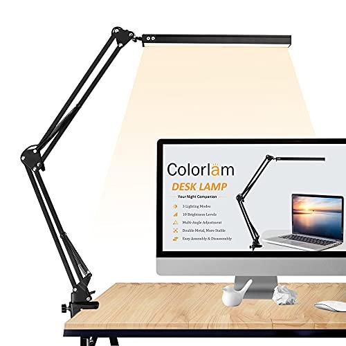 Lámpara Escritorio LED, Colorlam Lámpara de Estudio Cuidado de Ojos con Abrazadera Ajustable 3 Modos de Temperatura de Color 10 Niveles de Brillo Abrazo de Metal Regulable con Cable USB