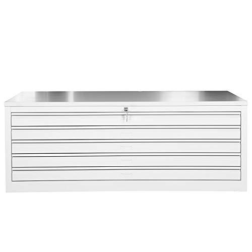 Certeo Flachablageschrank für DIN A0| 5 Schubladen | HxBxT 53 x 140 x 95 cm | Grau | Planschrank Grafikschrank Architektenschrank Zeichnungsschrank