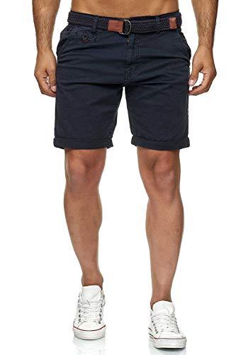 Indicode Conor - Bermuda da uomo con cintura, 100% cotone, vestibilità regolare blu navy L