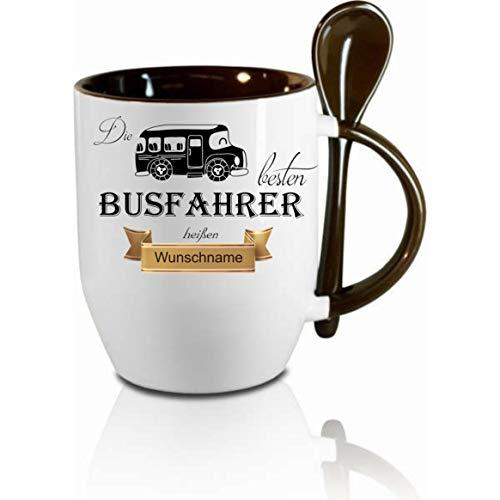 Crealuxe Löffeltasse m. Wunschname Die besten Busfahrer heißen. Wunschname - Kaffeetasse mit Motiv, Bedruckte Tasse mit Sprüchen oder Bildern