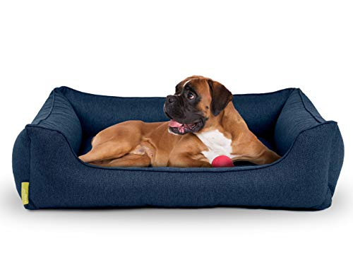 Hyggins Dreamer Plus Hundebett | Orthopädisch, Bezug abnehmbar und waschbar | Boden wasserabweisend | Made in EU | in S, M, L, XL | in graubeige, dunkelgrau und dunkelblau (L 100 x 70cm, Dunkelblau)