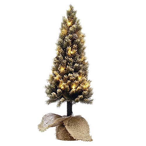 Mini Arvore Natal Pinheiro Nevado com Led Base de Juta 55cm